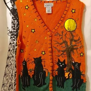 Unique Halloween Sweater Vest with Black Cats
